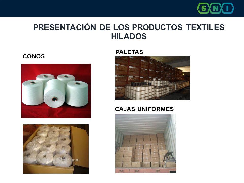 PRESENTACIÓN DE LOS PRODUCTOS TEXTILES HILADOS CAJAS UNIFORMES PALETAS CONOS