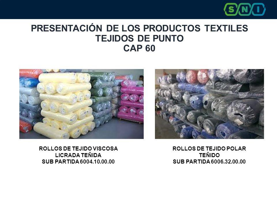 PRESENTACIÓN DE LOS PRODUCTOS TEXTILES TEJIDOS DE PUNTO CAP 60 ROLLOS DE TEJIDO VISCOSA LICRADA TEÑIDA SUB PARTIDA 6004.10.00.00 ROLLOS DE TEJIDO POLAR TEÑIDO SUB PARTIDA 6006.32.00.00