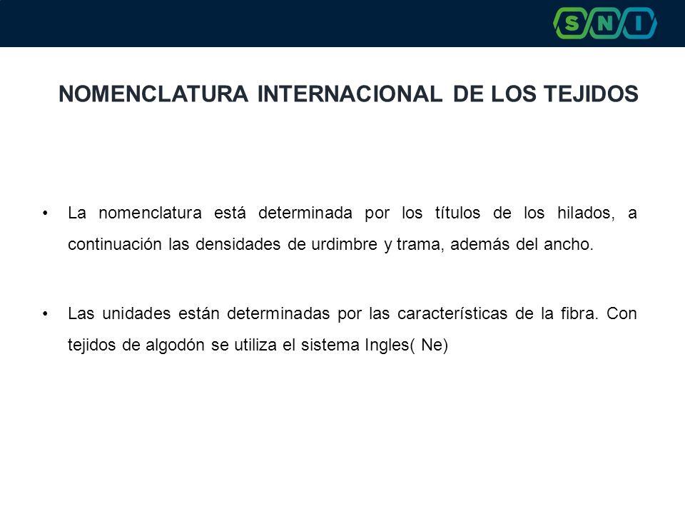 NOMENCLATURA INTERNACIONAL DE LOS TEJIDOS La nomenclatura está determinada por los títulos de los hilados, a continuación las densidades de urdimbre y trama, además del ancho.
