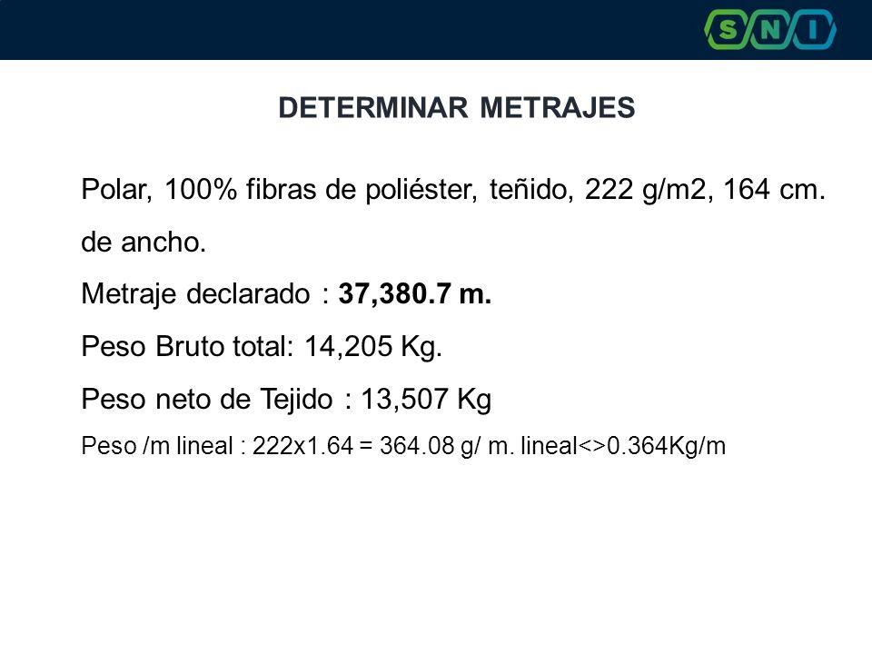 DETERMINAR METRAJES Polar, 100% fibras de poliéster, teñido, 222 g/m2, 164 cm. de ancho. Metraje declarado : 37,380.7 m. Peso Bruto total: 14,205 Kg.