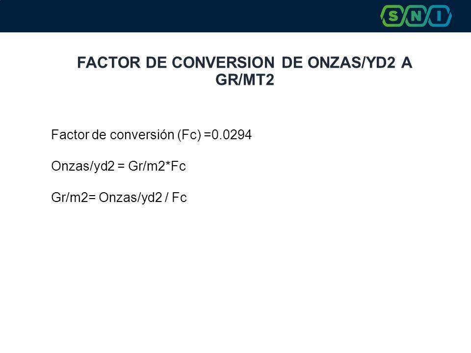 FACTOR DE CONVERSION DE ONZAS/YD2 A GR/MT2 Factor de conversión (Fc) =0.0294 Onzas/yd2 = Gr/m2*Fc Gr/m2= Onzas/yd2 / Fc