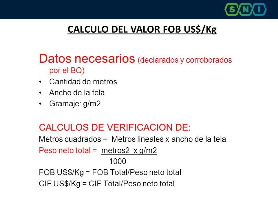 CALCULO DEL VALOR FOB US$/Kg Datos necesarios (declarados y corroborados por el BQ) Cantidad de metros Ancho de la tela Gramaje: g/m2 CALCULOS DE VERIFICACION DE: Metros cuadrados = Metros lineales x ancho de la tela Peso neto total = metros2 x g/m2 1000 FOB US$/Kg = FOB Total/Peso neto total CIF US$/Kg = CIF Total/Peso neto total