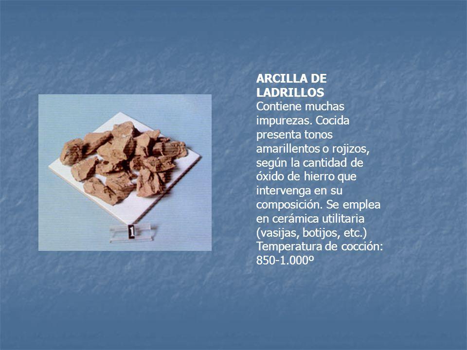 ARCILLA DE LADRILLOS Contiene muchas impurezas. Cocida presenta tonos amarillentos o rojizos, según la cantidad de óxido de hierro que intervenga en s
