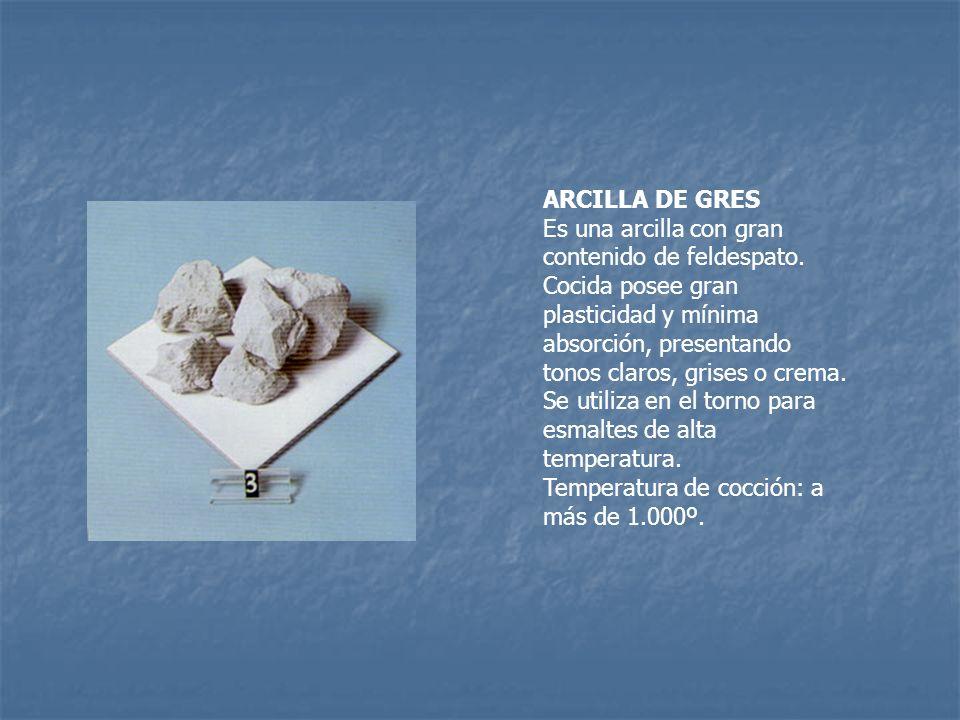 ARCILLA DE GRES Es una arcilla con gran contenido de feldespato. Cocida posee gran plasticidad y mínima absorción, presentando tonos claros, grises o