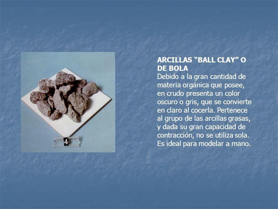ARCILLAS BALL CLAY O DE BOLA Debido a la gran cantidad de materia orgánica que posee, en crudo presenta un color oscuro o gris, que se convierte en cl