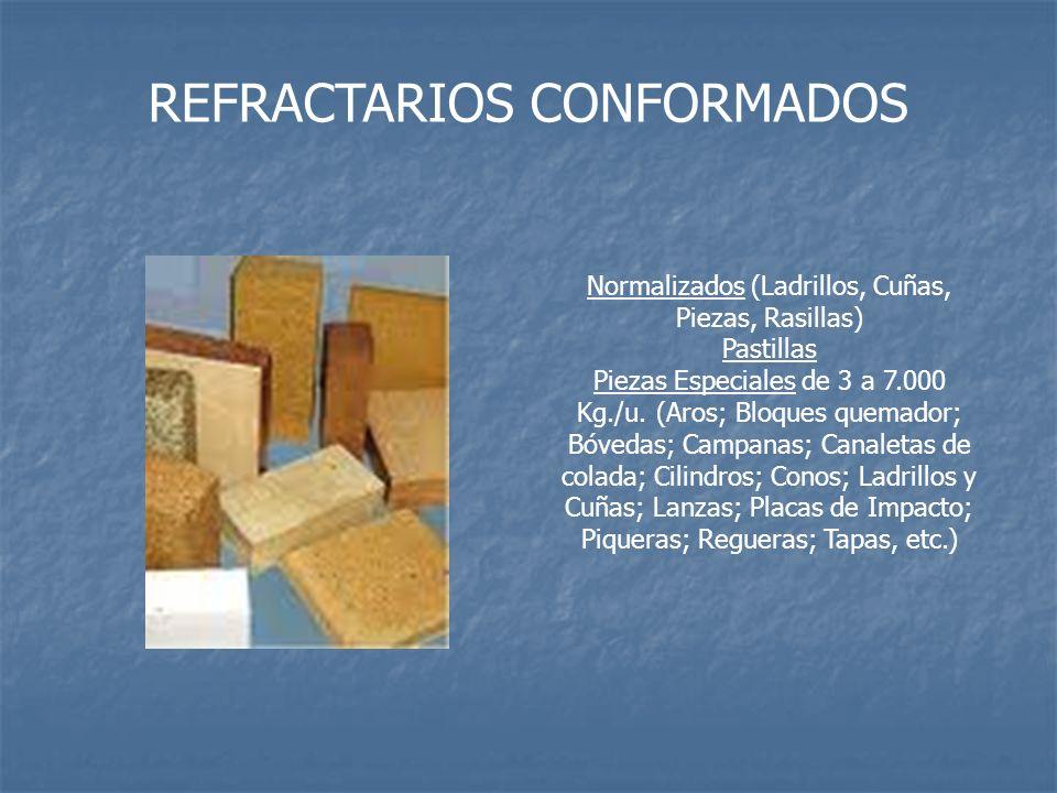 REFRACTARIOS CONFORMADOS Normalizados (Ladrillos, Cuñas, Piezas, Rasillas) Pastillas Piezas Especiales de 3 a 7.000 Kg./u. (Aros; Bloques quemador; Bó
