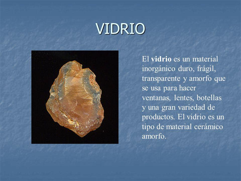 VIDRIO El vidrio es un material inorgánico duro, frágil, transparente y amorfo que se usa para hacer ventanas, lentes, botellas y una gran variedad de