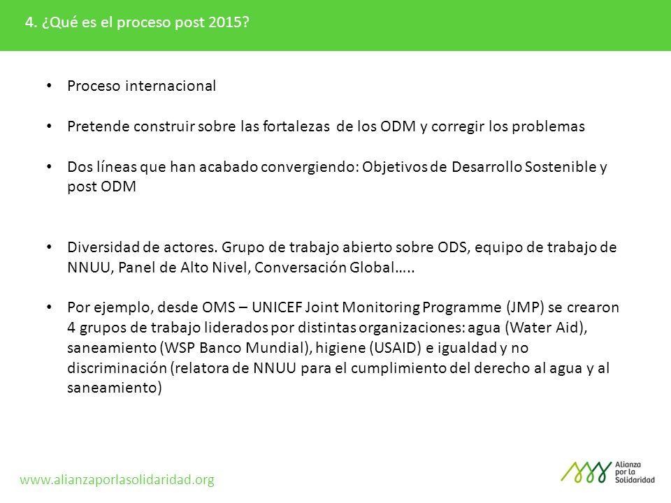 4. ¿Qué es el proceso post 2015? Proceso internacional Pretende construir sobre las fortalezas de los ODM y corregir los problemas Dos líneas que han