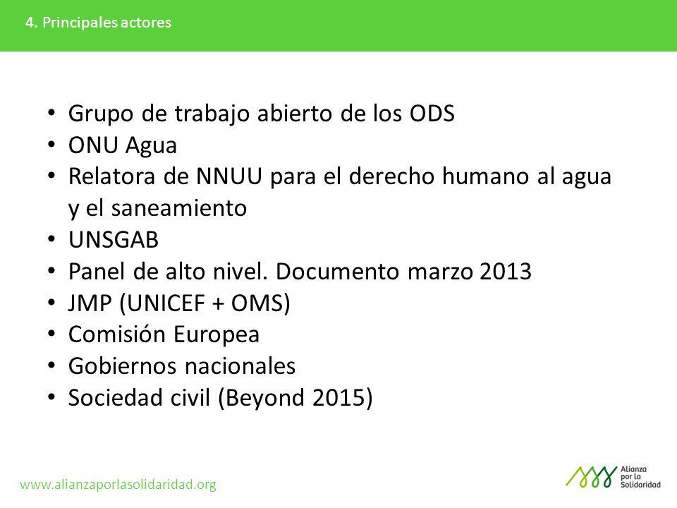 4. Principales actores Grupo de trabajo abierto de los ODS ONU Agua Relatora de NNUU para el derecho humano al agua y el saneamiento UNSGAB Panel de a