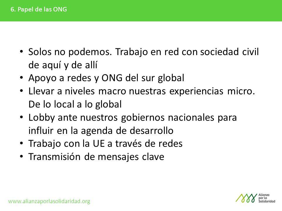 6. Papel de las ONG Solos no podemos. Trabajo en red con sociedad civil de aquí y de allí Apoyo a redes y ONG del sur global Llevar a niveles macro nu