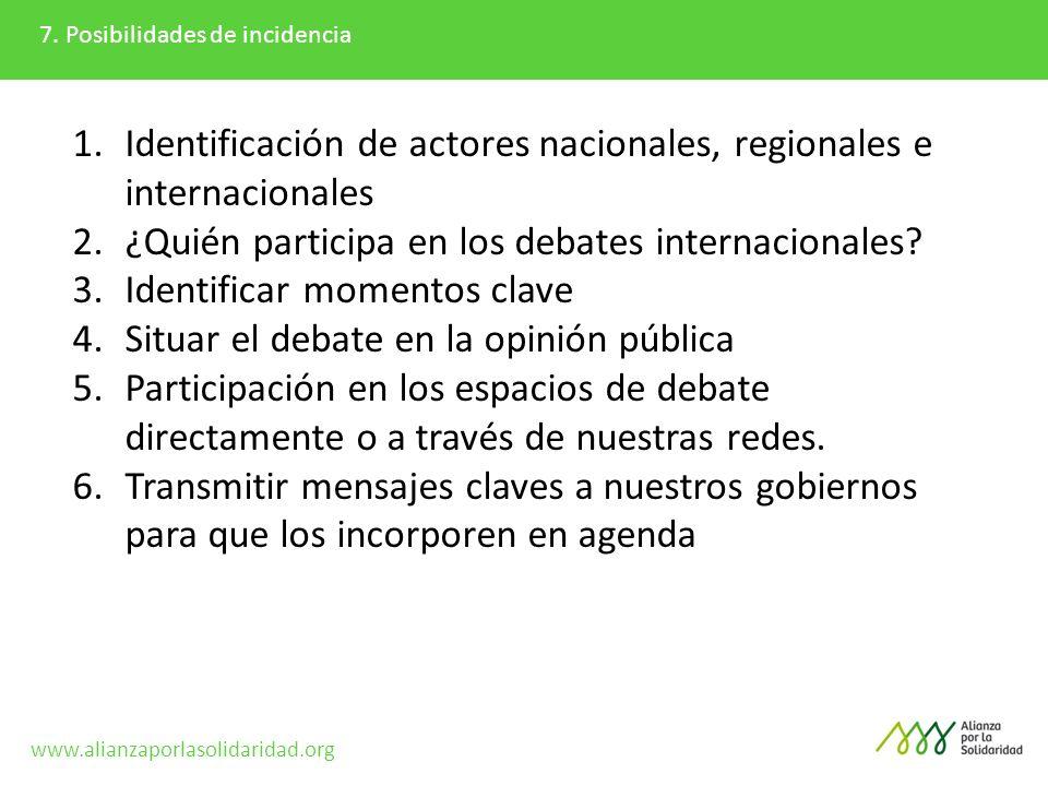 7. Posibilidades de incidencia 1.Identificación de actores nacionales, regionales e internacionales 2.¿Quién participa en los debates internacionales?