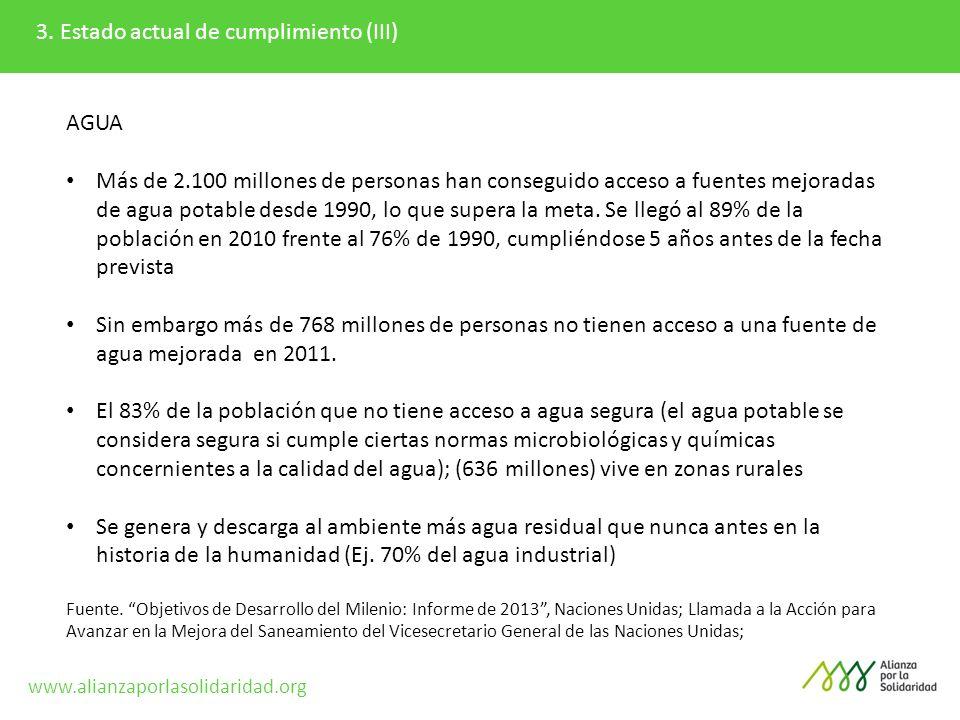 3. Estado actual de cumplimiento (III) AGUA Más de 2.100 millones de personas han conseguido acceso a fuentes mejoradas de agua potable desde 1990, lo
