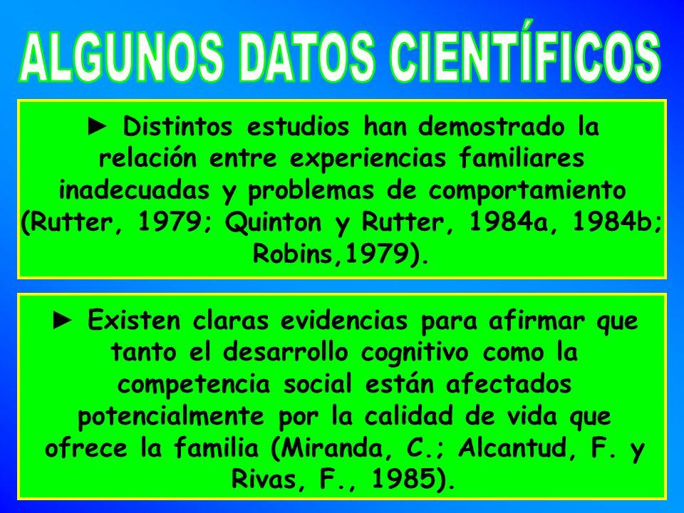 Distintos estudios han demostrado la relación entre experiencias familiares inadecuadas y problemas de comportamiento (Rutter, 1979; Quinton y Rutter, 1984a, 1984b; Robins,1979).