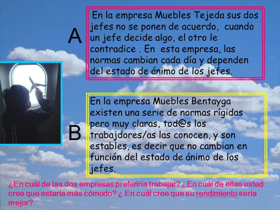 En la empresa Muebles Tejeda sus dos jefes no se ponen de acuerdo, cuando un jefe decide algo, el otro le contradice.