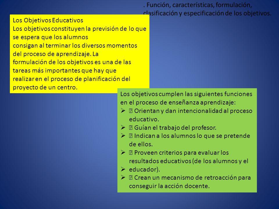Los Objetivos Educativos Los objetivos constituyen la previsión de lo que se espera que los alumnos consigan al terminar los diversos momentos del pro