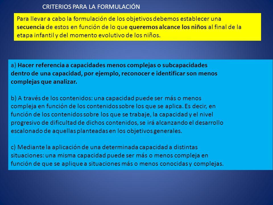 CRITERIOS PARA LA FORMULACIÓN Para llevar a cabo la formulación de los objetivos debemos establecer una secuencia de estos en función de lo que querem