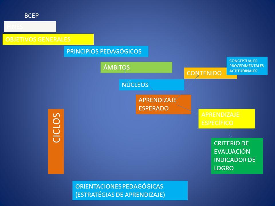BCEP OBJETIVOS GENERALES PRINCIPIOS PEDAGÓGICOS ÁMBITOS NÚCLEOS CICLOS APRENDIZAJE ESPERADO APRENDIZAJE ESPECÍFICO CRITERIO DE EVALUACIÓN INDICADOR DE