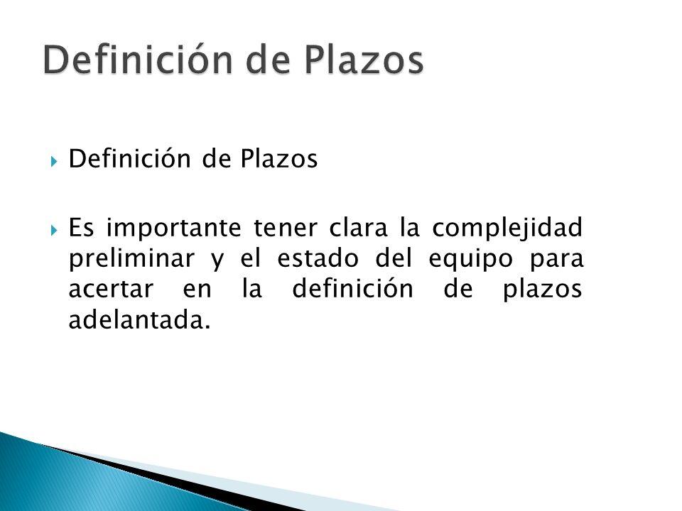 Definición de Plazos Es importante tener clara la complejidad preliminar y el estado del equipo para acertar en la definición de plazos adelantada.