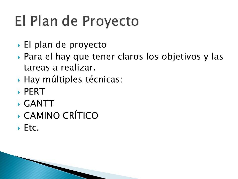 El plan de proyecto Para el hay que tener claros los objetivos y las tareas a realizar. Hay múltiples técnicas: PERT GANTT CAMINO CRÍTICO Etc.