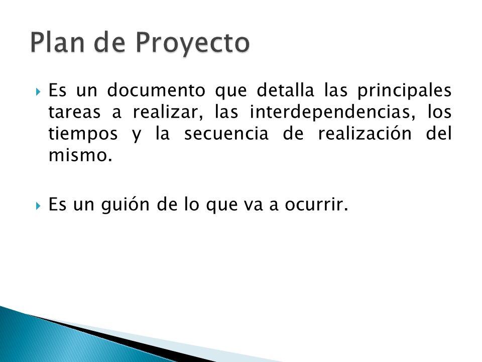 Es un documento que detalla las principales tareas a realizar, las interdependencias, los tiempos y la secuencia de realización del mismo. Es un guión