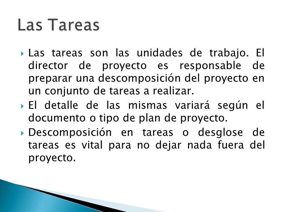Las tareas son las unidades de trabajo. El director de proyecto es responsable de preparar una descomposición del proyecto en un conjunto de tareas a