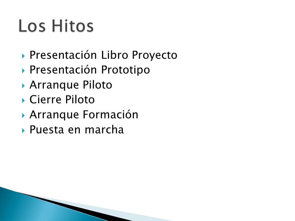 Presentación Libro Proyecto Presentación Prototipo Arranque Piloto Cierre Piloto Arranque Formación Puesta en marcha