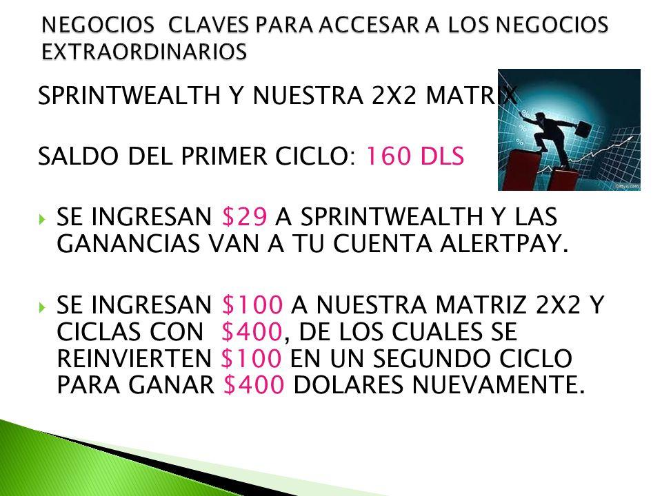 SPRINTWEALTH Y NUESTRA 2X2 MATRIX SALDO DEL PRIMER CICLO: 160 DLS SE INGRESAN $29 A SPRINTWEALTH Y LAS GANANCIAS VAN A TU CUENTA ALERTPAY.