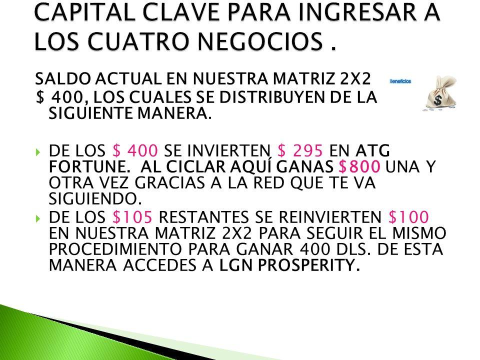 SALDO ACTUAL EN NUESTRA MATRIZ 2X2 $ 400, LOS CUALES SE DISTRIBUYEN DE LA SIGUIENTE MANERA.