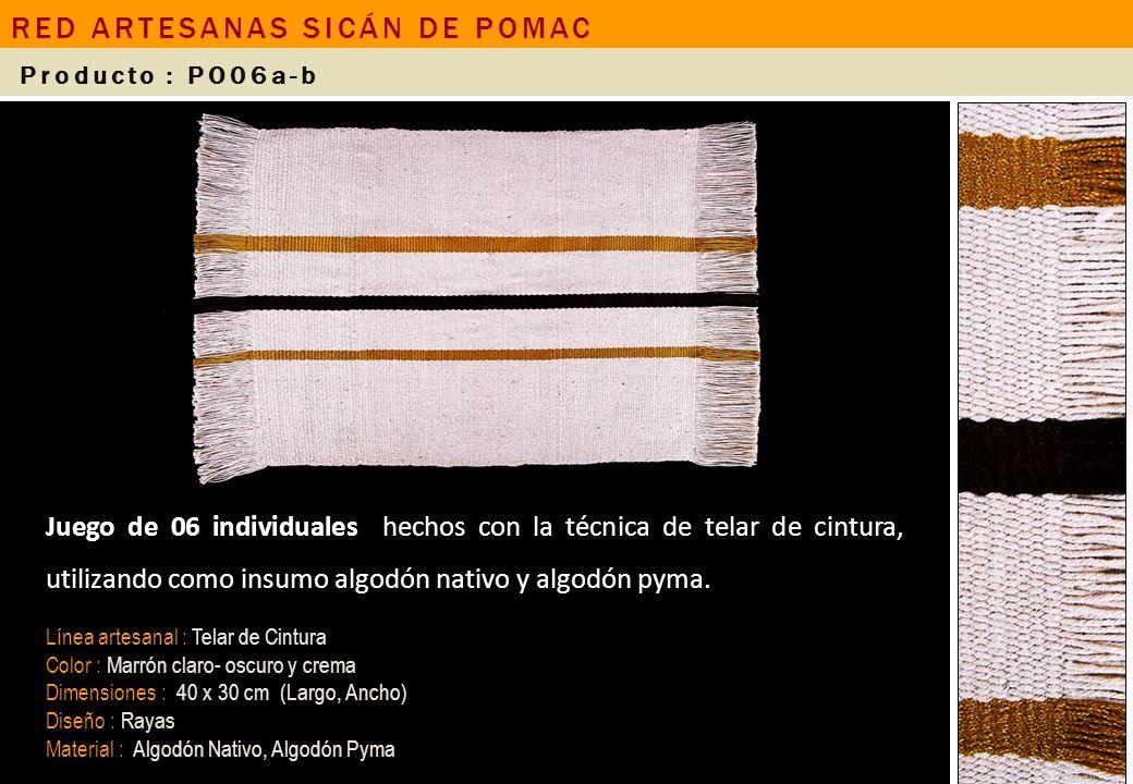 Juego de 06 individuales hechos con la técnica de telar de cintura, utilizando como insumo algodón nativo y algodón pyma. Línea artesanal : Telar de C