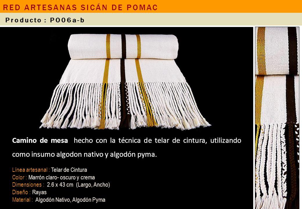 Camino de mesa hecho con la técnica de telar de cintura, utilizando como insumo algodon nativo y algodón pyma. Línea artesanal : Telar de Cintura Colo