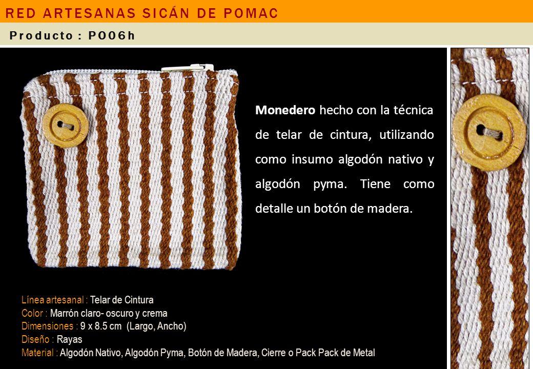 Monedero hecho con la técnica de telar de cintura, utilizando como insumo algodón nativo y algodón pyma. Tiene como detalle un botón de madera. Línea