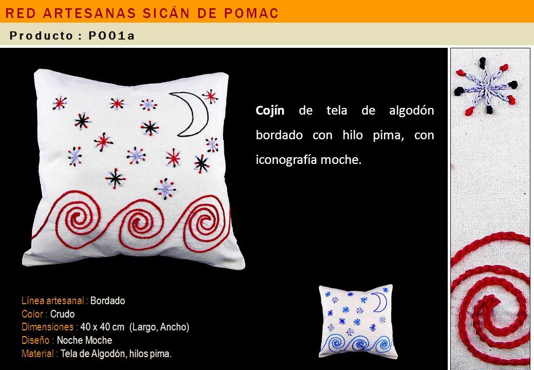 Cojín de tela de algodón bordado con hilo pima, con iconografía moche. Línea artesanal : Bordado Color : Crudo Dimensiones : 40 x 40 cm (Largo, Ancho)