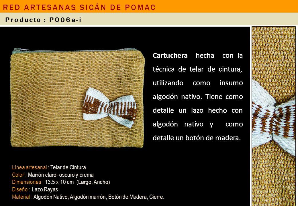 Cartuchera hecha con la técnica de telar de cintura, utilizando como insumo algodón nativo. Tiene como detalle un lazo hecho con algodón nativo y como