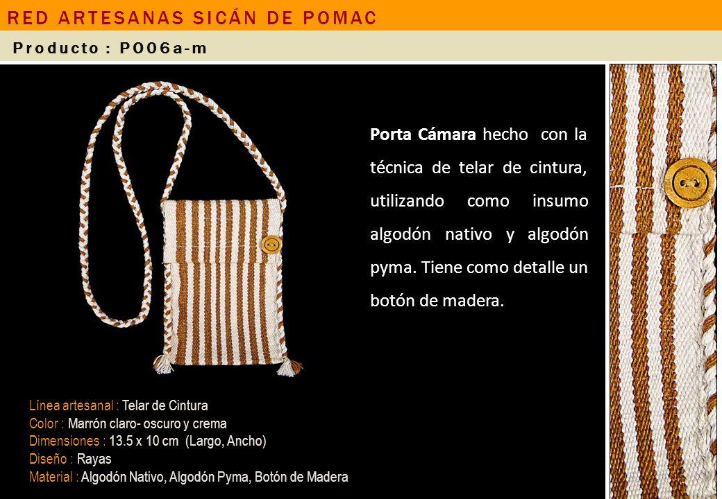 Bolsa con asas de madera hecha con tela de algodón y una aplicación de telar de cintura, utilizando como insumo algodón nativo.