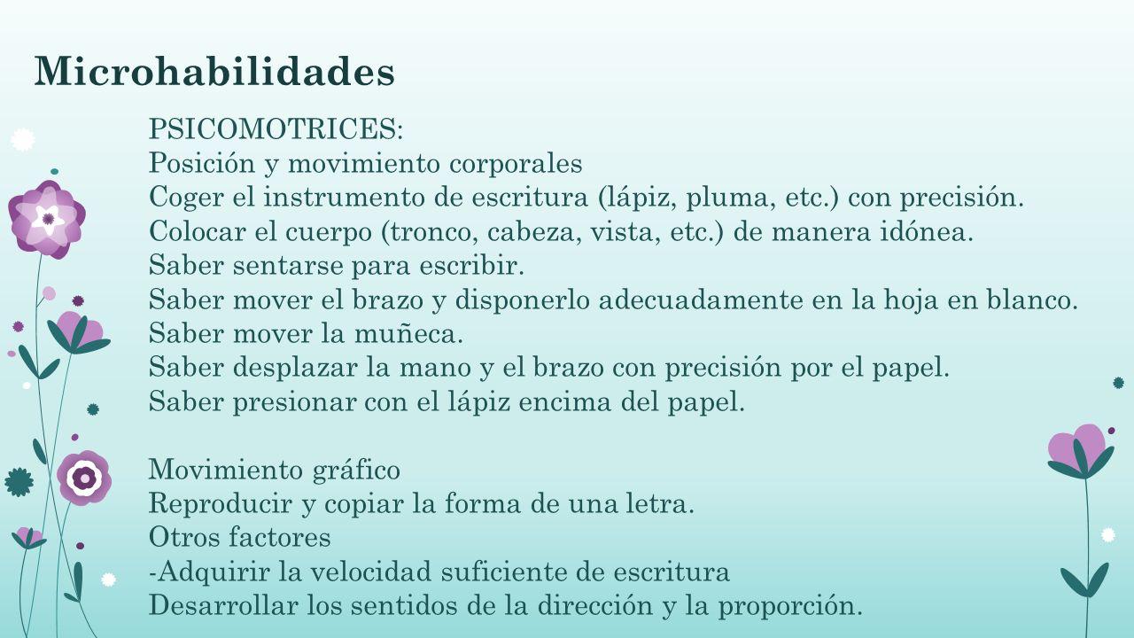 Microhabilidades PSICOMOTRICES: Posición y movimiento corporales Coger el instrumento de escritura (lápiz, pluma, etc.) con precisión. Colocar el cuer