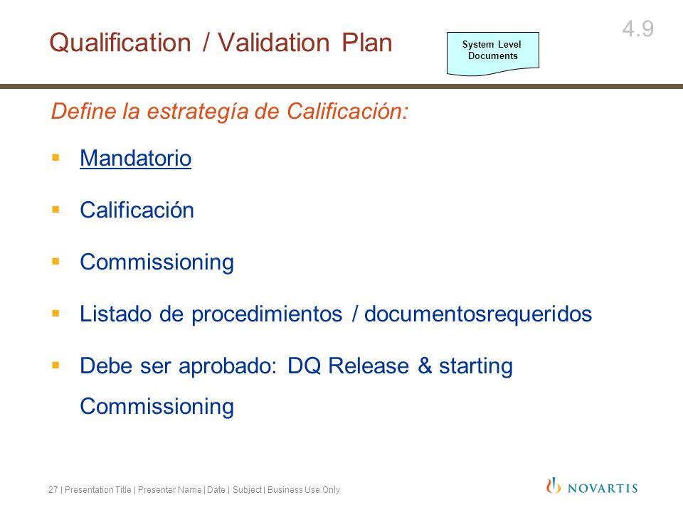 27 | Presentation Title | Presenter Name | Date | Subject | Business Use Only Define la estrategía de Calificación: Mandatorio Calificación Commission