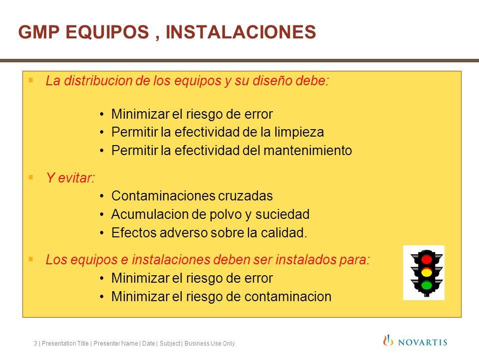 3 | Presentation Title | Presenter Name | Date | Subject | Business Use Only La distribucion de los equipos y su diseño debe: Minimizar el riesgo de e