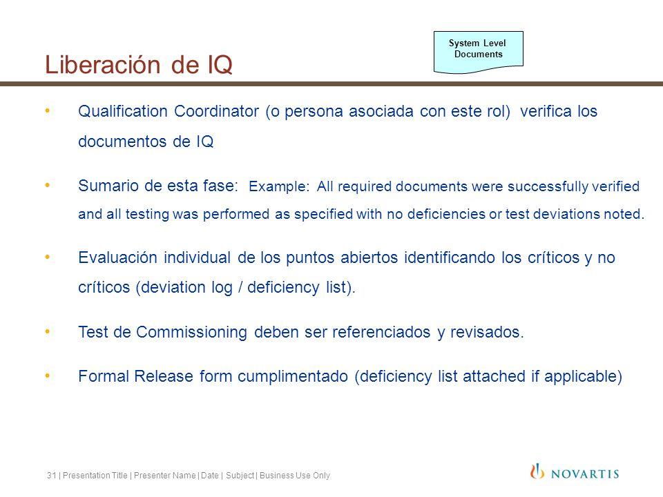 31 | Presentation Title | Presenter Name | Date | Subject | Business Use Only Qualification Coordinator (o persona asociada con este rol) verifica los