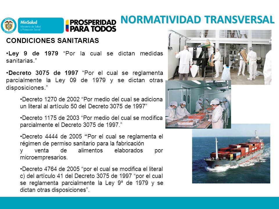 NORMATIVIDAD TRANSVERSAL CONDICIONES SANITARIAS Ley 9 de 1979 Por la cual se dictan medidas sanitarias.