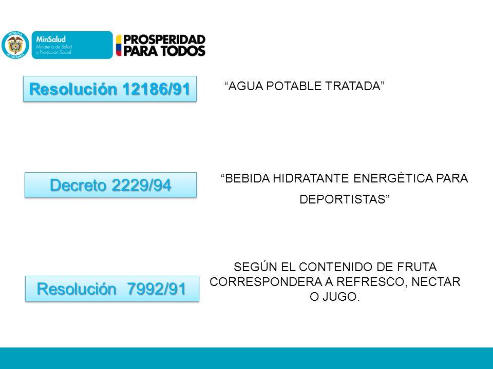 Resolución 12186/91 AGUA POTABLE TRATADA BEBIDA HIDRATANTE ENERGÉTICA PARA DEPORTISTAS Decreto 2229/94 Resolución 7992/91 SEGÚN EL CONTENIDO DE FRUTA CORRESPONDERA A REFRESCO, NECTAR O JUGO.