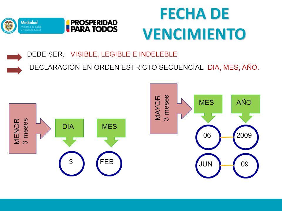FECHA DE VENCIMIENTO DEBE SER: VISIBLE, LEGIBLE E INDELEBLE DECLARACIÓN EN ORDEN ESTRICTO SECUENCIAL DIA, MES, AÑO.