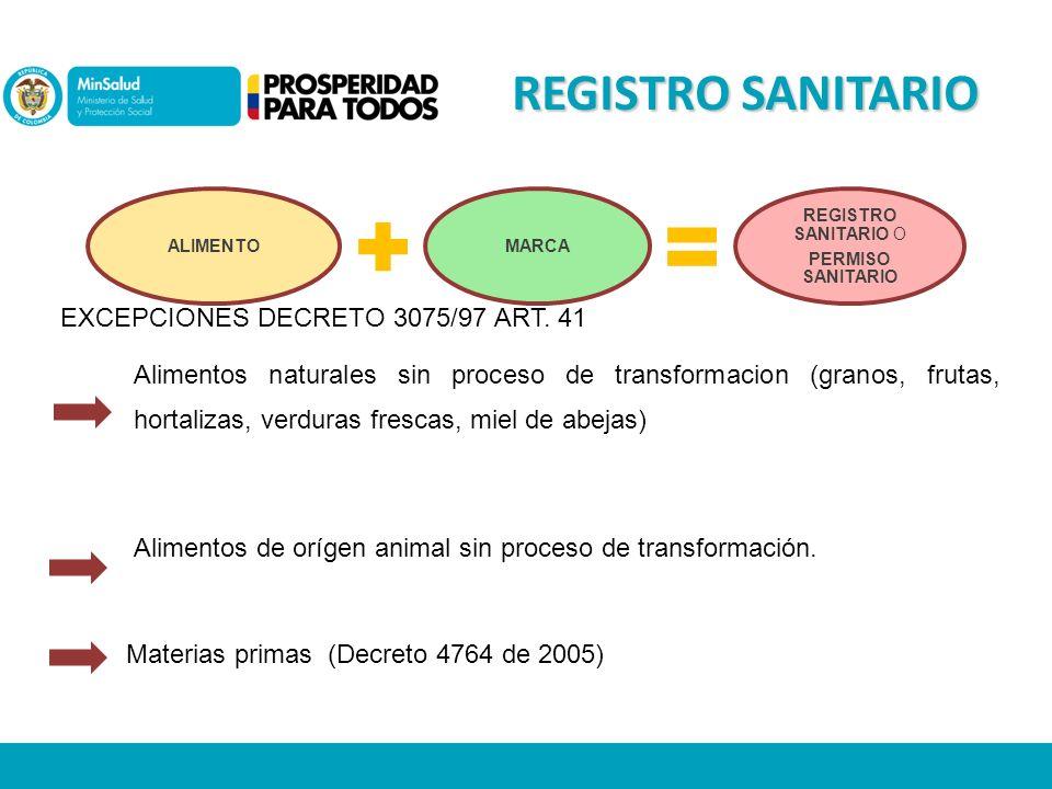 REGISTRO SANITARIO ALIMENTOMARCA REGISTRO SANITARIO O PERMISO SANITARIO Alimentos naturales sin proceso de transformacion (granos, frutas, hortalizas, verduras frescas, miel de abejas) EXCEPCIONES DECRETO 3075/97 ART.