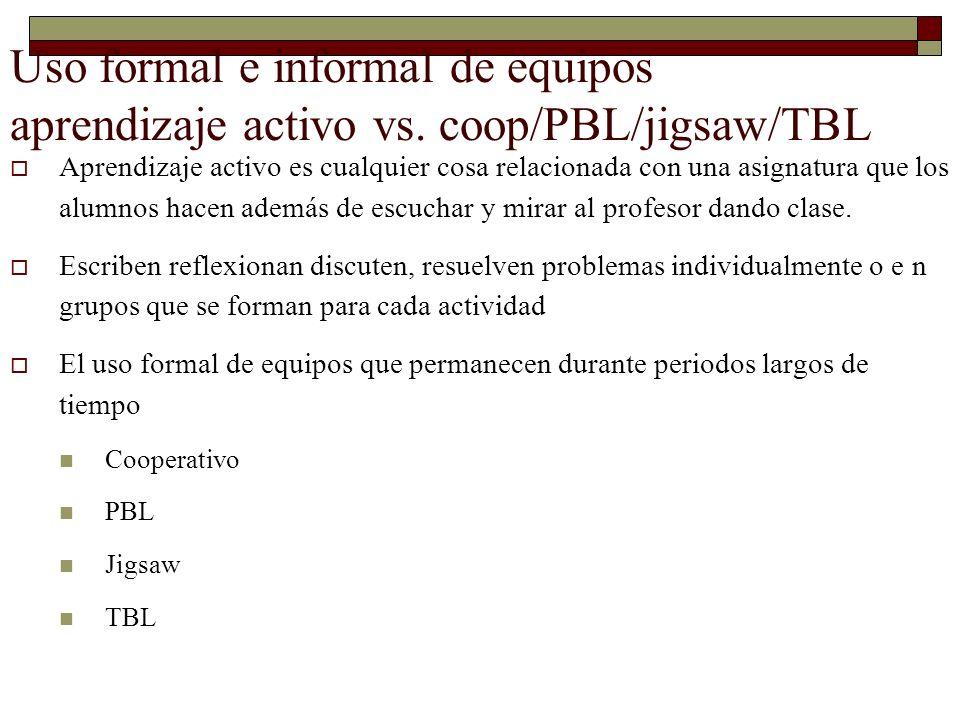 Uso formal e informal de equipos aprendizaje activo vs. coop/PBL/jigsaw/TBL Aprendizaje activo es cualquier cosa relacionada con una asignatura que lo