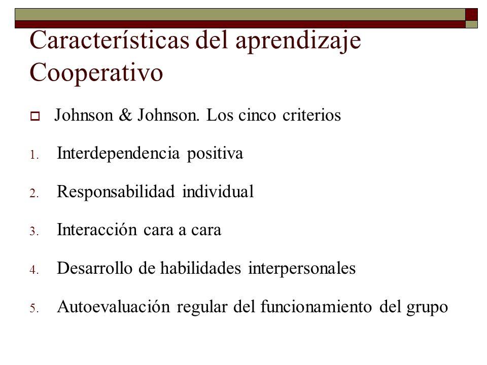 Características del aprendizaje Cooperativo Johnson & Johnson. Los cinco criterios 1. Interdependencia positiva 2. Responsabilidad individual 3. Inter