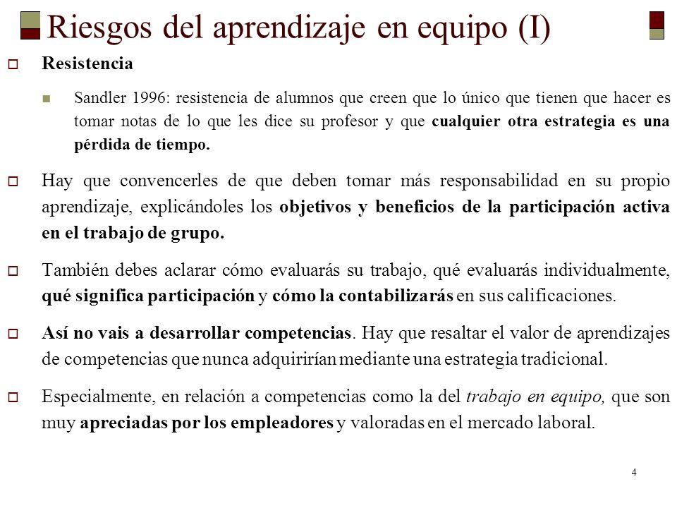 4 Riesgos del aprendizaje en equipo (I) Resistencia Sandler 1996: resistencia de alumnos que creen que lo único que tienen que hacer es tomar notas de