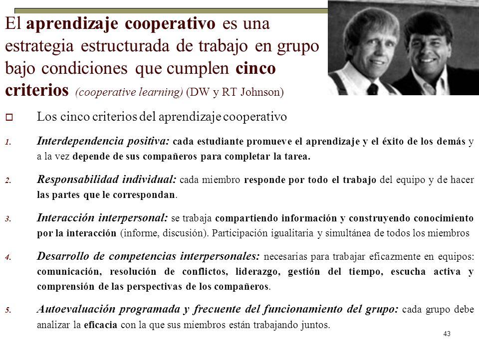 43 El aprendizaje cooperativo es una estrategia estructurada de trabajo en grupo bajo condiciones que cumplen cinco criterios (cooperative learning) (