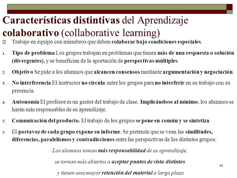 44 Características distintivas del Aprendizaje colaborativo (collaborative learning) Trabajo en equipo con miembros que deben colaborar bajo condicion