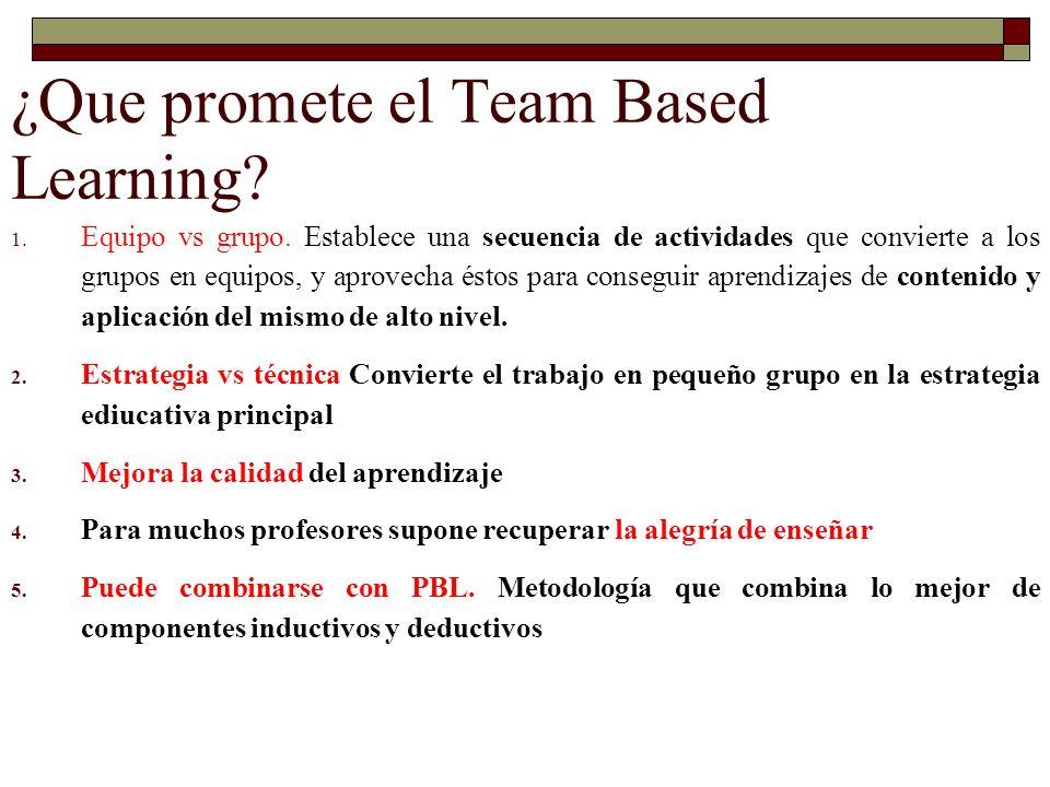 ¿Que promete el Team Based Learning? 1. Equipo vs grupo. Establece una secuencia de actividades que convierte a los grupos en equipos, y aprovecha ést