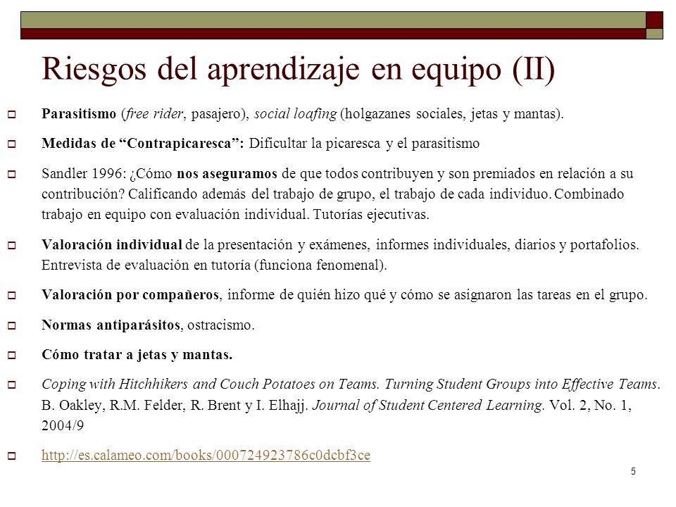 5 Riesgos del aprendizaje en equipo (II) Parasitismo (free rider, pasajero), social loafing (holgazanes sociales, jetas y mantas). Medidas de Contrapi