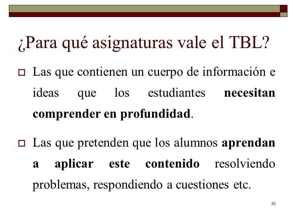 50 ¿Para qué asignaturas vale el TBL? Las que contienen un cuerpo de información e ideas que los estudiantes necesitan comprender en profundidad. Las